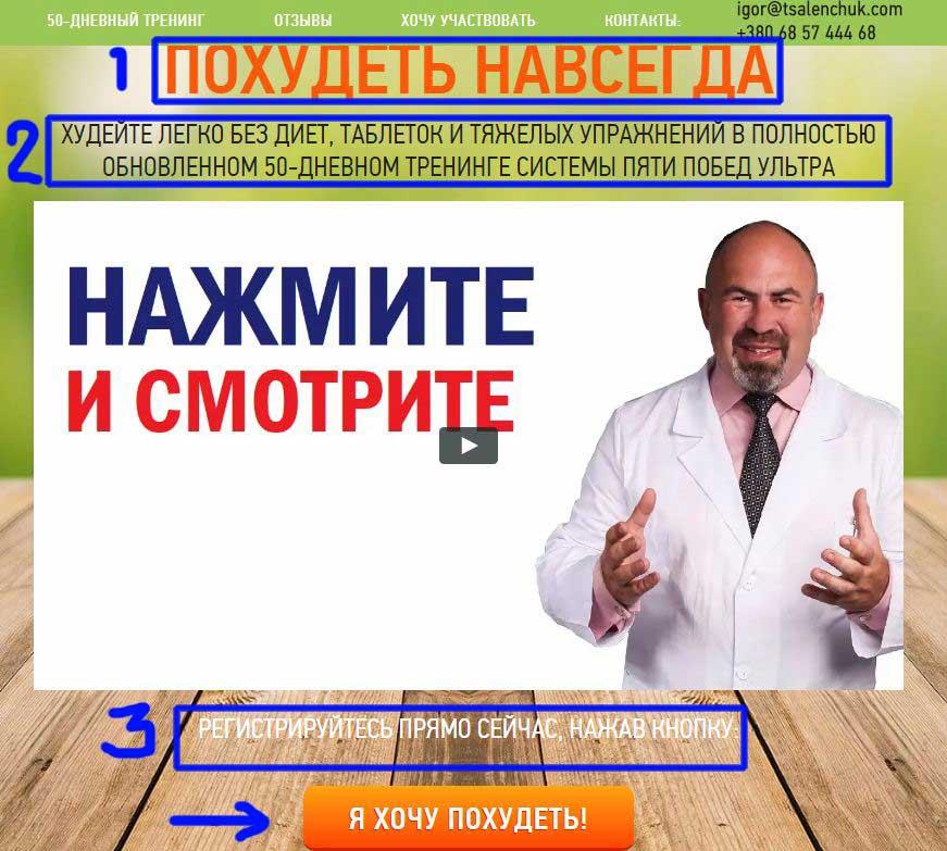 Пример оффера в нише похудения