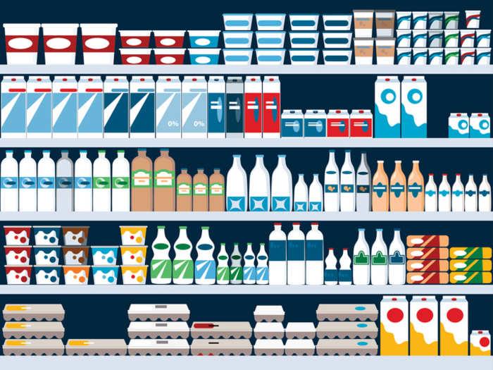 Расположение молочных продуктов на прилавке